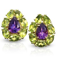 Amethyst and Peridot Pear-Shaped Earrings