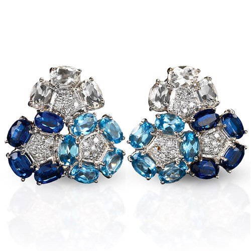 "18k White Gold Blue Topaz, Kynite, & Crystal ""Triple Flower"" Earrings"