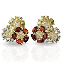 Garnet Triple Circle Flower Earrings