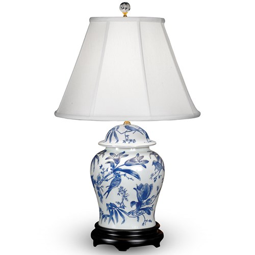 Bird and Lily Porcelain Table Lamps