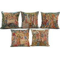 Medieval Wine Harvest Tapestry Pillows