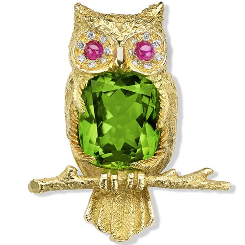 18K Gold Owl Brooch with Peridot and Diamonds