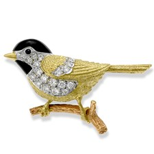 18k Gold Black Cap Chickadee pin