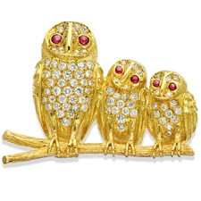 18k Gold Horizontal Triple Owl Pin