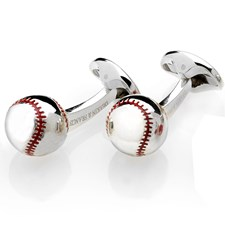 Sterling Silver and Enamel Baseball Cufflinks