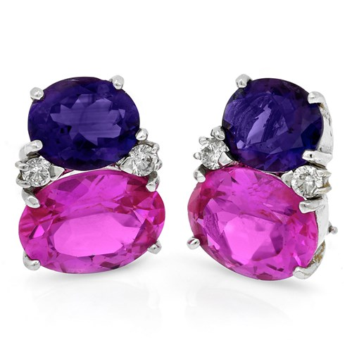 18k Gold Pink Topaz and Amethyst Diamond Earrings