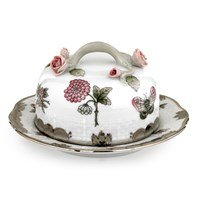 Herend Queen Victoria Butter Dish with  Branch Knob, Grey with Platinum