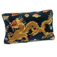 Dragon Carpet Pillow, Blue