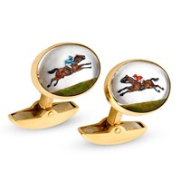 18k Yellow Gold Crystal Race Horse & Jockey Cufflinks