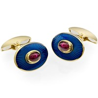 Gold and Ruby Enamel Cufflinks