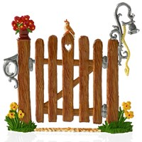 Pewter Summer Garden Wooden Gate Figurine