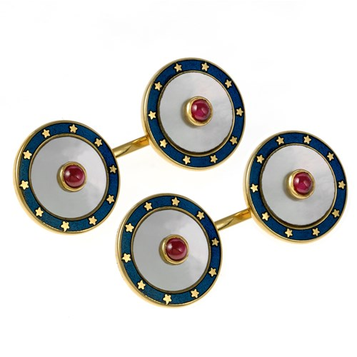 18k Gold Mother of Pearl Cufflinks with Star Border and Ruby Center