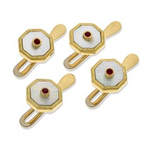 18k Gold Octagonal Studs with Mother of Pearl & Ruby Center, Set of 4