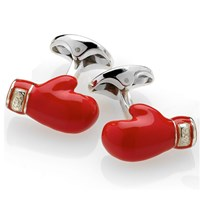 Sterling Silver and Enamel Boxing Glove Cufflinks
