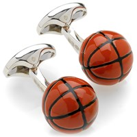 Sterling Silver and Enamel Basketball Cufflinks