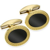 Gold and Onyx Oval Cufflinks