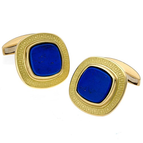 18k Gold Cushion Cufflinks with Yellow Enamel and Flat Lapis Center