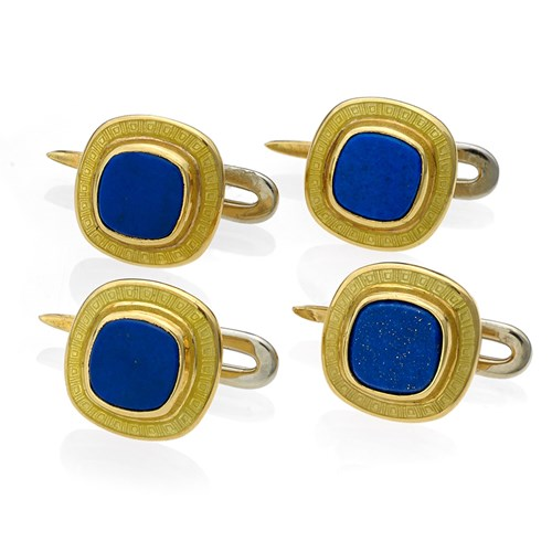 18k Gold Cushion Studs, Set of 4