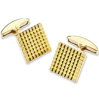 18K Yellow Gold Square Hobnail Cufflinks
