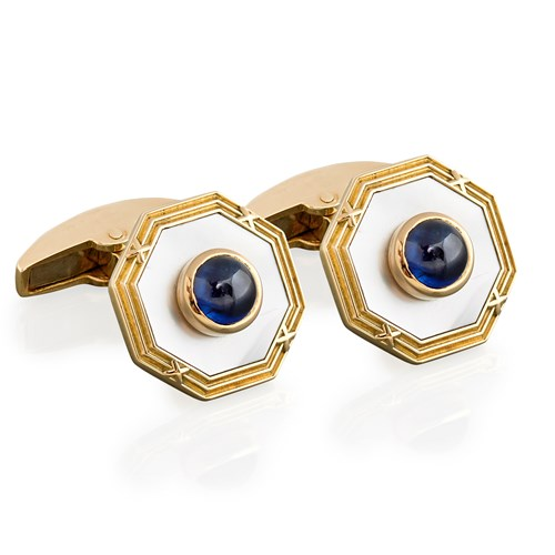 18k Gold Mother of Pearl & Sapphire Cufflinks