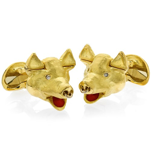 Gold Pig Head Cufflinks with Movable Parts