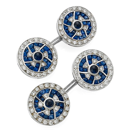 18k White Gold Fetter Link Cufflinks with Sapphire and Diamond