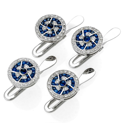 18k White Gold Fetter Link Studs with Sapphire & Diamond, Set of 4