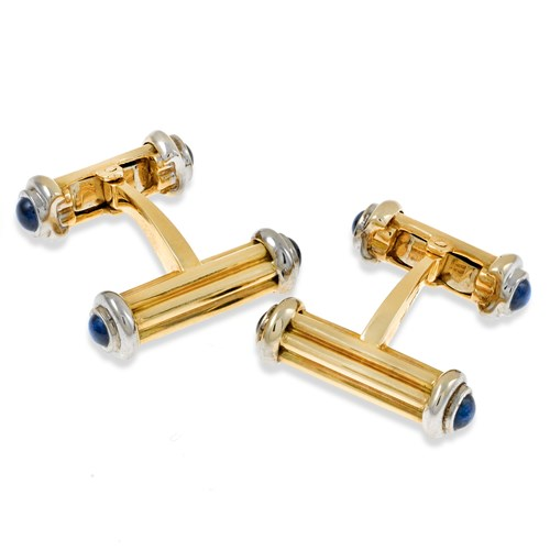 18k Gold Dumbbell Cufflinks with Sapphires