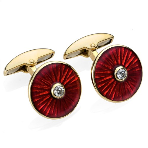 18k Gold Red Sunburst Cufflinks with Diamond Center