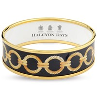 Halcyon Days Gold and Black Link Enamel Bangles