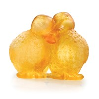 Daum 'Pate De Verre' Pair of Yellow Ducklings