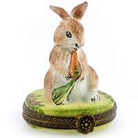 Rabbit Holding Carrot Limoges Box