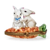 Rabbits on Carrot Limoges Box
