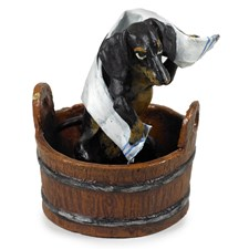 Austrian Bronze Dachshund in Tub