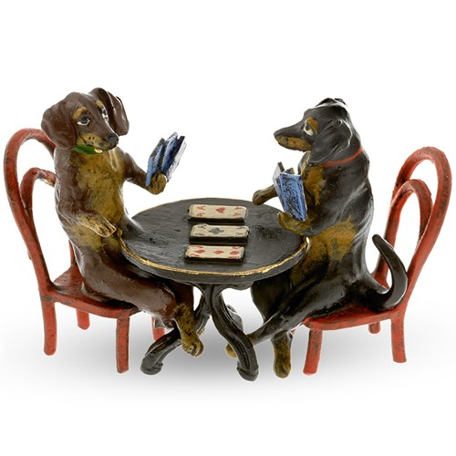Austrian Bronze Dachshund Card Players Figurine