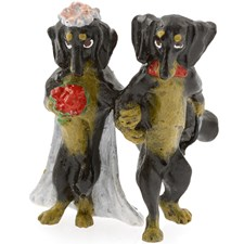 Austrian Bronze Dachshund Wedding Couple Figurine