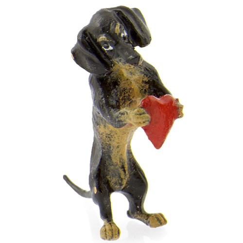 Austrian Bronze Dachshund with Heart Figurine