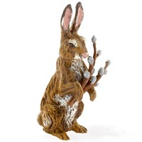 Austrian Bronze Rabbit with Catkins Pussy Willows Figurine