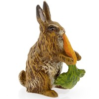 Austrian Bronze Rabbit Eating Carrot Figurine