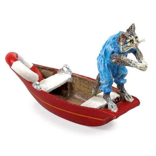 Austrian Bronze Cat Diving from Boat