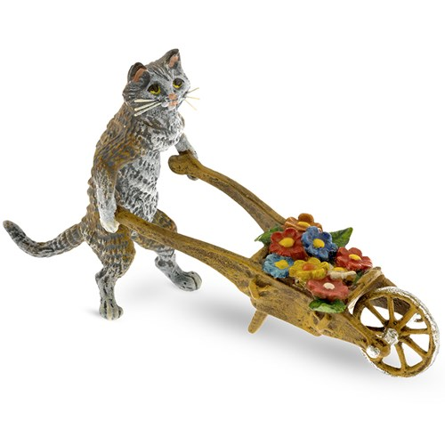 Austrian Bronze Cat with Wheelbarrow and Flowers Figurine