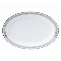 "Philippe Deshoulieres Arcades Gray and Platinum 16"" Oval Platter"