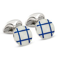 Sterling Silver Checkered Round Cufflinks, Royal Blue & Clear