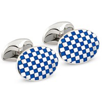 Sterling Silver Royal Blue & White Checkered Cufflinks