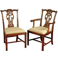 Aged Regency Armchair and Side Chair
