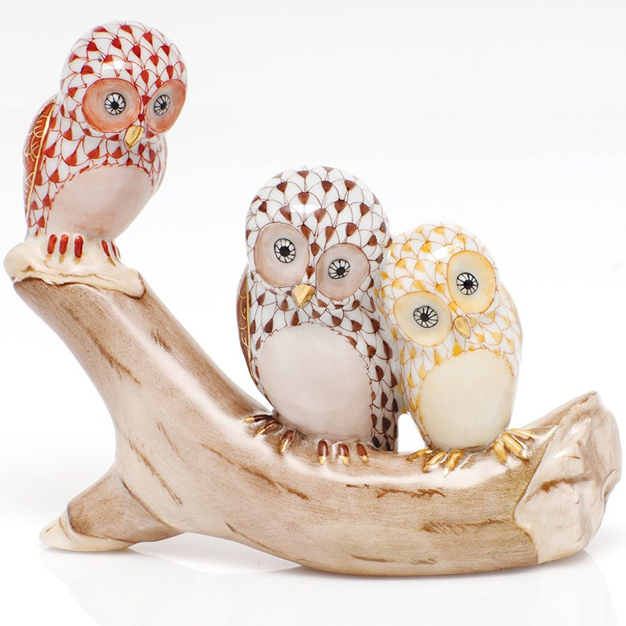 herend three owls on a branch birds insects herend figurines collectibles. Black Bedroom Furniture Sets. Home Design Ideas