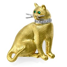 18k Gold Satin Cat Pin