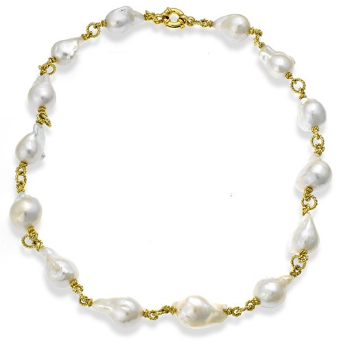 18k Yellow Gold Baroque Pearl Necklace