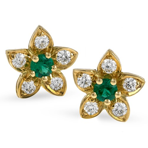 18k Yellow Gold Diamond & Emerald Star Earrings