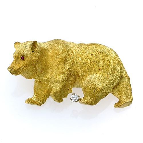 18k Gold Walking Bear Pin